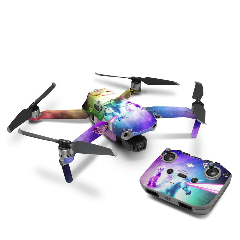 DJI Mavic Air 2 Skin design of Fictional character, Illustration, Unicorn, Graphic design, Sky, Space, Mythical creature, Cg artwork, Art, Mythology with black, white, blue, green, purple, pink, red colors