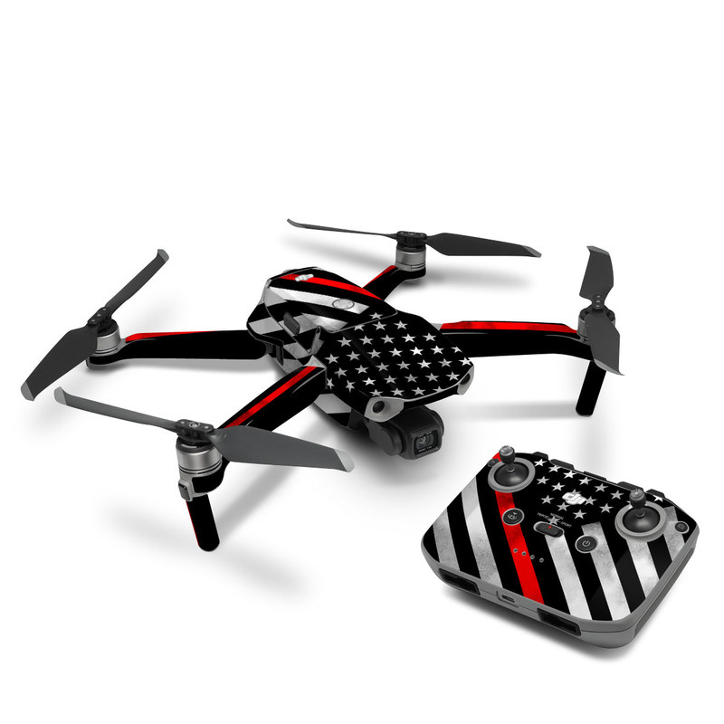 DJI Mavic Air 2 Skin design of Flag of the united states, Flag, Line, Black-and-white, Pattern, Flag Day (USA), Veterans day, Independence day, Memorial day with black, white, gray, red colors