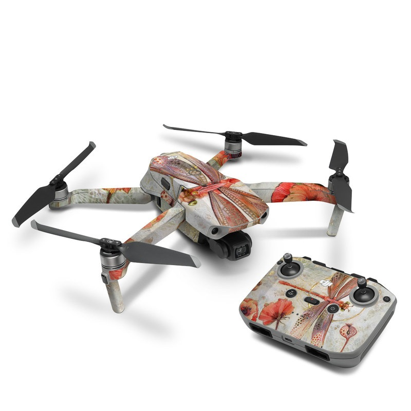 DJI Mavic Air 2 Skin design of Watercolor paint, Botany, Flower, Illustration, Floral design, Painting, Plant, Coquelicot, Art, Still life photography with red, yellow, gray colors