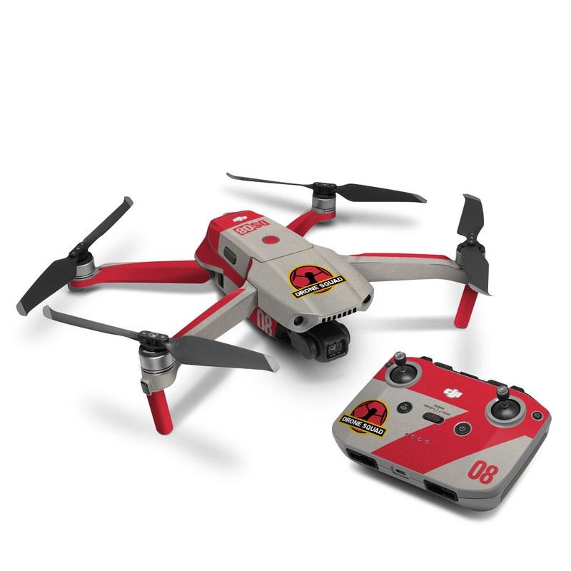 DJI Mavic Air 2 Skin design with red, gray, black, white, yellow colors