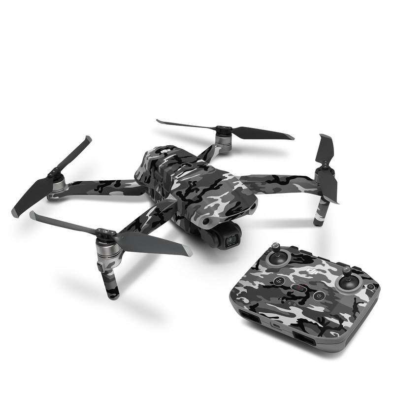DJI Mavic Air 2 Skin design of Military camouflage, Pattern, Clothing, Camouflage, Uniform, Design, Textile with black, gray colors