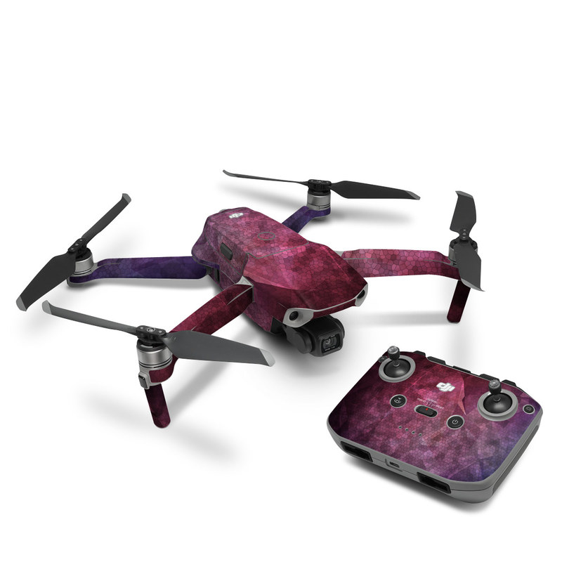 DJI Mavic Air 2 Skin design of Purple, Sky, Red, Violet, Pink, Pattern, Design, Triangle, Line, Magenta with black, red, purple, pink, white colors
