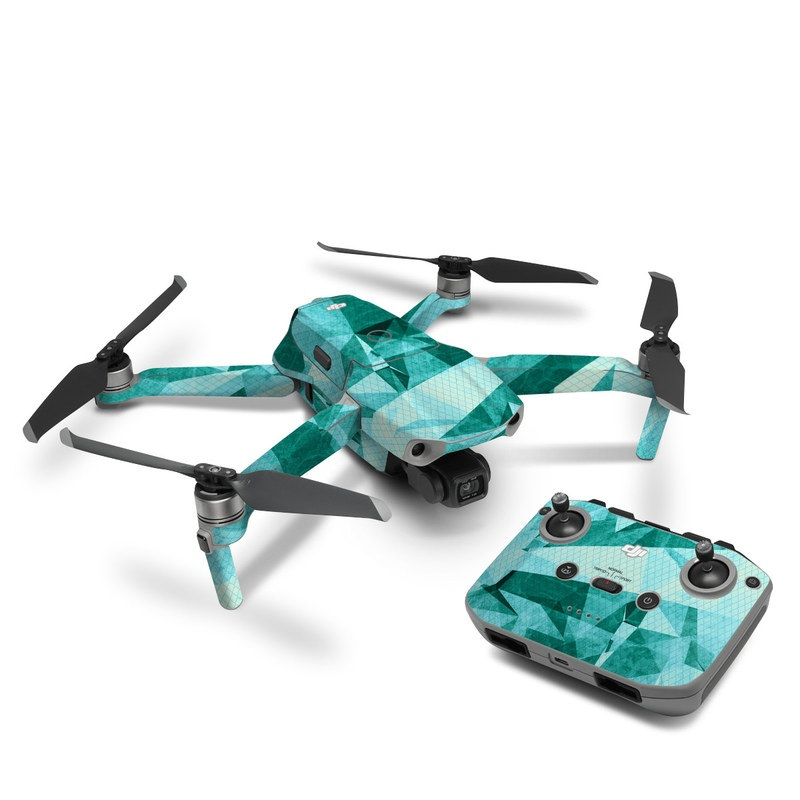 DJI Mavic Air 2 Skin design of Aqua, Blue, Pattern, Turquoise, Illustration, Teal, Design, Line, Graphic design with blue colors