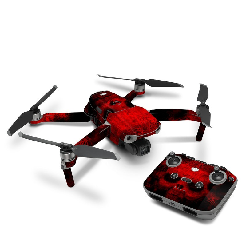 DJI Mavic Air 2 Skin design of Red, Skull, Bone, Darkness, Mouth, Graphics, Pattern, Fiction, Art, Fractal art with black, red colors