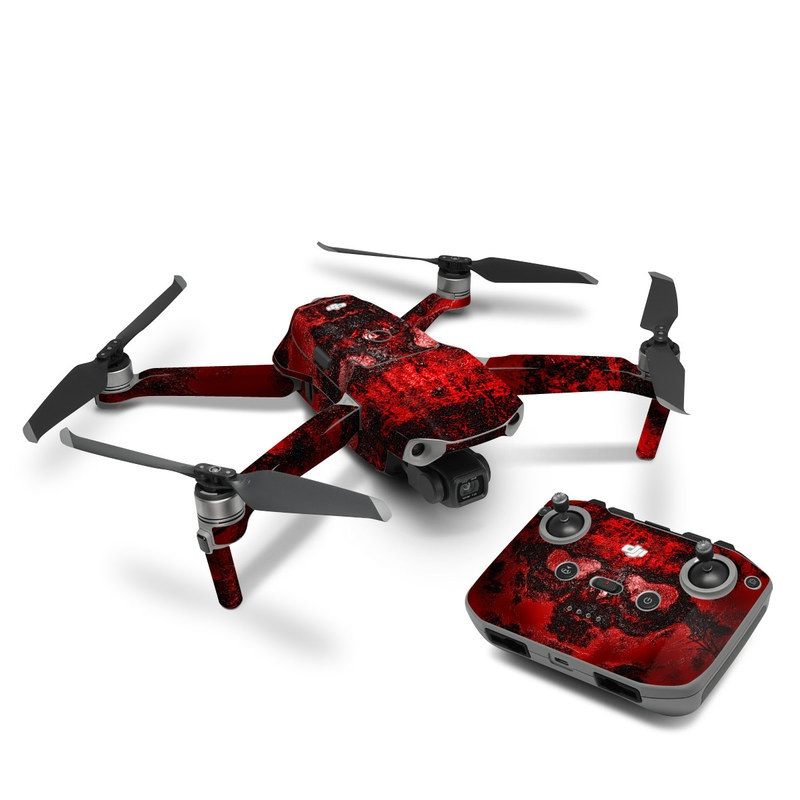 DJI Mavic Air 2 Skin design of Red, Heart, Graphics, Pattern, Skull, Graphic design, Flesh, Visual arts, Art, Illustration with black, red colors
