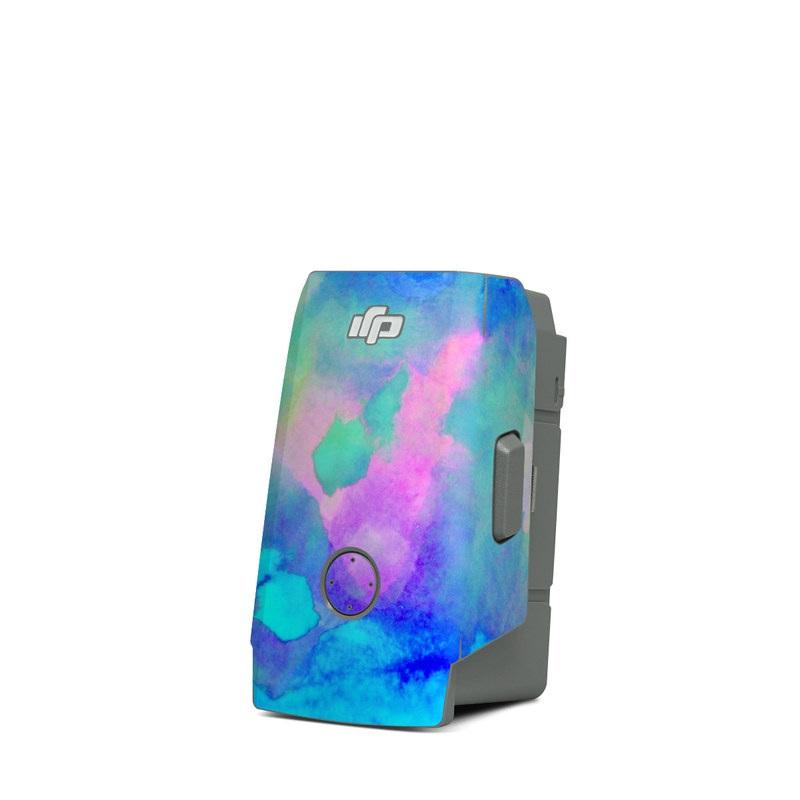DJI Mavic Air 2 Battery Skin design of Blue, Turquoise, Aqua, Pattern, Dye, Design, Sky, Electric blue, Art, Watercolor paint with blue, purple colors