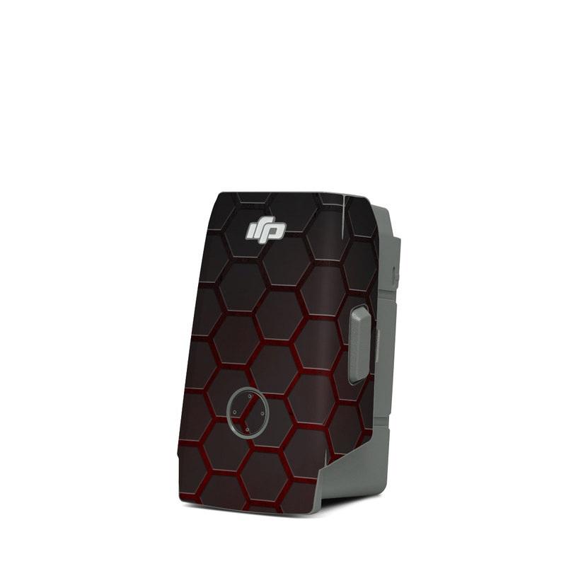 DJI Mavic Air 2 Battery Skin design of Black, Pattern, Metal, Design, Mesh, Carbon, Space, Wallpaper with black, red colors