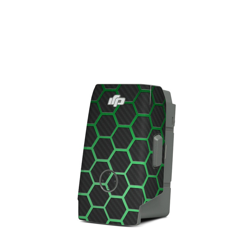 DJI Mavic Air 2 Battery Skin design of Pattern, Metal, Design, Carbon, Space, Circle with black, gray, green colors
