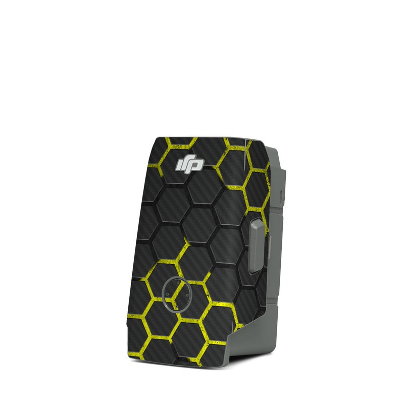 DJI Mavic Air 2 Battery Skin design of Black, Pattern, Yellow, Mesh, Net, Chain-link fencing, Design, Metal with black, gray, yellow colors