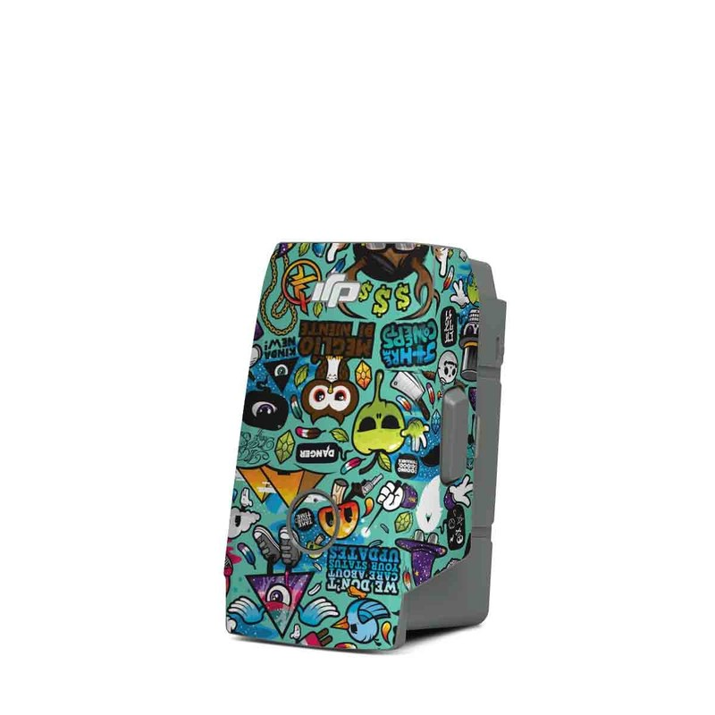 DJI Mavic Air 2 Battery Skin design of Cartoon, Art, Pattern, Design, Illustration, Visual arts, Doodle, Psychedelic art with black, blue, gray, red, green colors