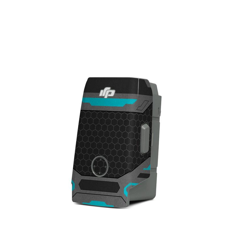 DJI Mavic Air 2 Battery Skin design of Blue, Turquoise, Pattern, Teal, Symmetry, Design, Line, Automotive design, Font with black, gray, blue colors