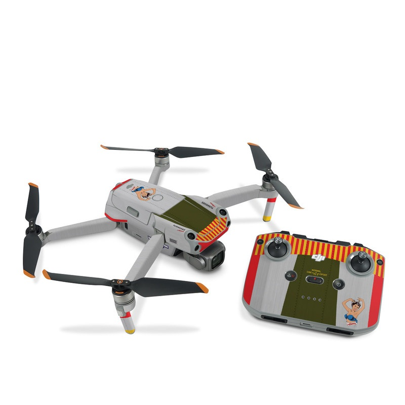 DJI Air 2S Skin design of Product, Textile, Font, Rectangle, Art, Pattern, Illustration, Graphics, Logo, Design with gray, red, yellow, green, blue, white, blue, black colors