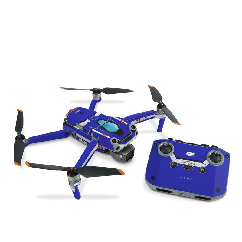 DJI Air 2S Skin design of Floppy disk, Technology, Electric blue, Fictional character with white, blue, black, gray colors