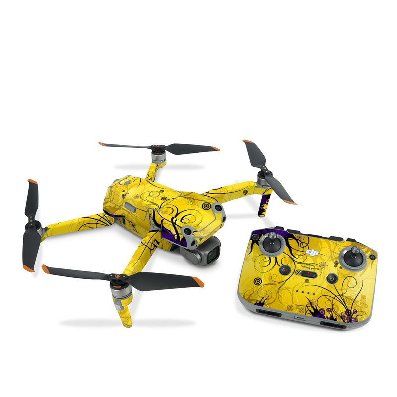 DJI Air 2S Skin design of Yellow, Pattern, Floral design, Purple, Graphic design, Design, Wallpaper, Art, Illustration, Visual arts with orange, yellow, black, purple colors