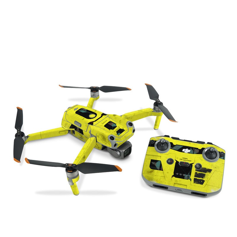 DJI Air 2S Skin design of Yellow, Green, Font, Pattern, Graphic design with black, yellow, gray, blue, green colors