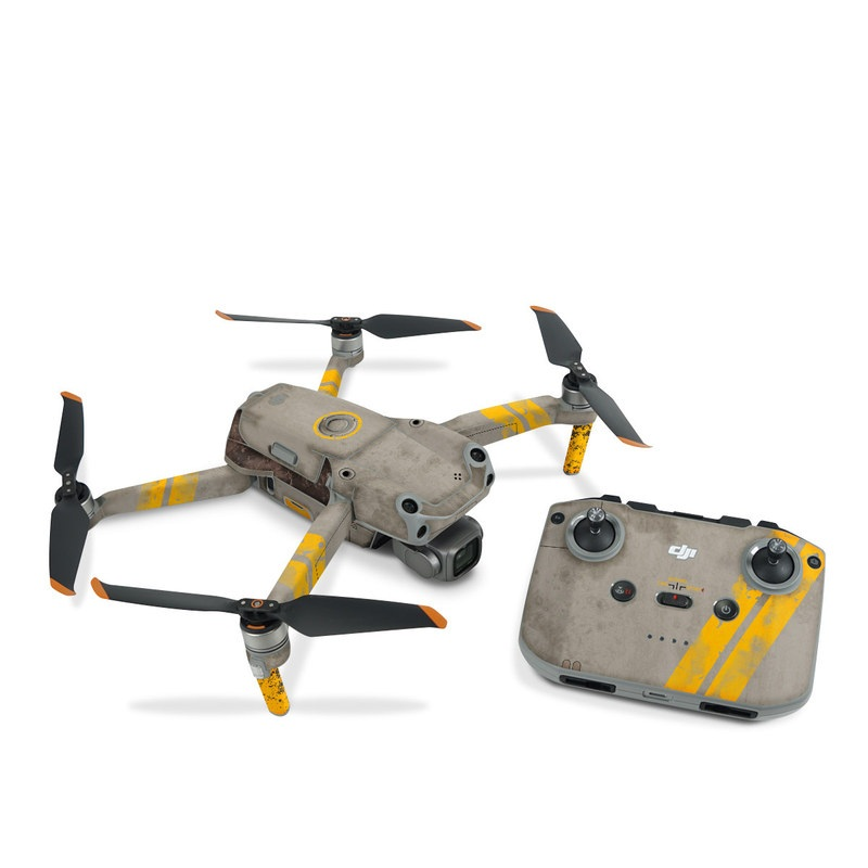 DJI Air 2S Skin design of Yellow, Wall, Line, Orange, Design, Concrete, Font, Architecture, Parallel, Wood with gray, yellow, red, black colors