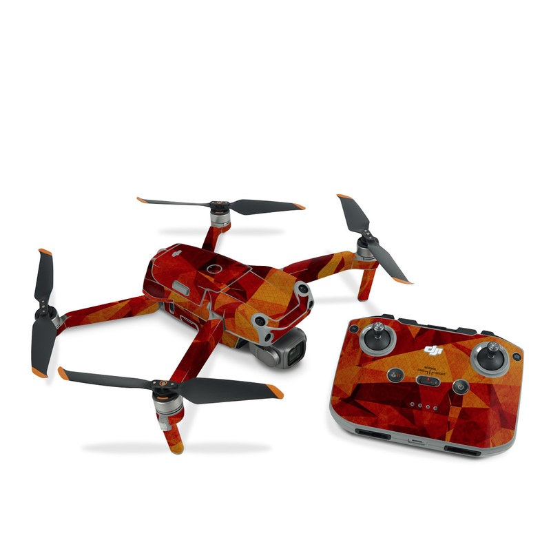 DJI Air 2S Skin design of Orange, Red, Yellow, Triangle, Pattern, Amber, Design, Art, Visual arts, Modern art with black, orange, yellow colors