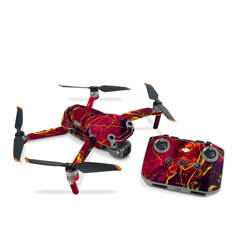 DJI Air 2S Skin design of Red, Purple, Geological phenomenon, Pattern, Fractal art, Art, Fictional character, Graphics with red.yellow, black colors