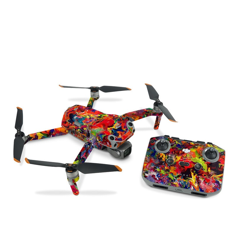 DJI Air 2S Skin design of Colorfulness, Modern art, Acrylic paint, Painting, Visual arts, Art, Psychedelic art, Textile, Pattern, Paint with red, yellow, green, orange, yellow colors