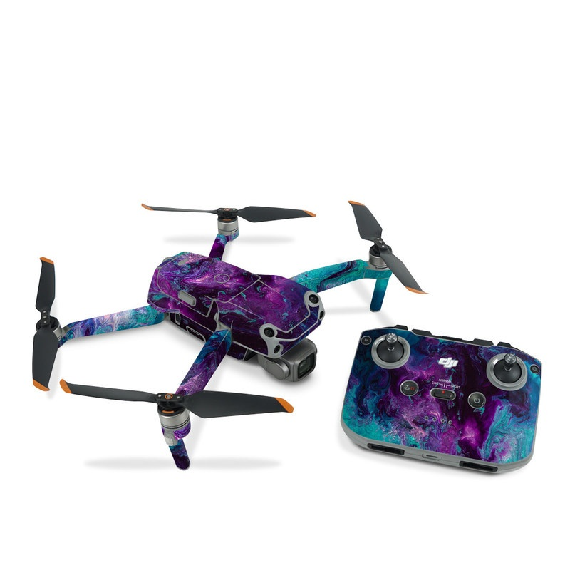 DJI Air 2S Skin design of Blue, Purple, Violet, Water, Turquoise, Aqua, Pink, Magenta, Teal, Electric blue with blue, purple, black colors