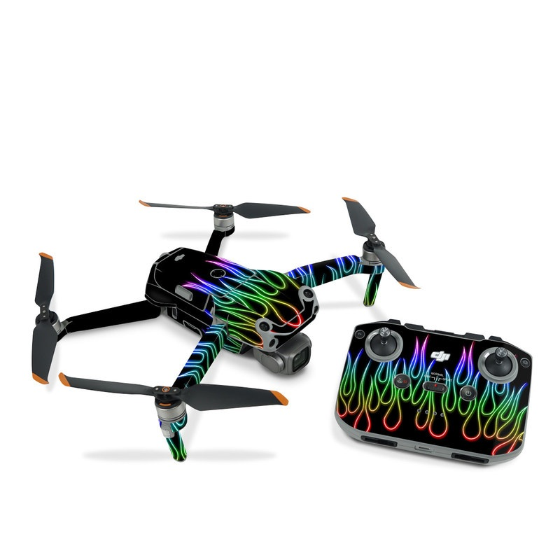 DJI Air 2S Skin design of Text, Light, Neon, Font, Neon sign, Graphics, Graphic design, Visual effect lighting with black, red, yellow, green, purple, pink colors