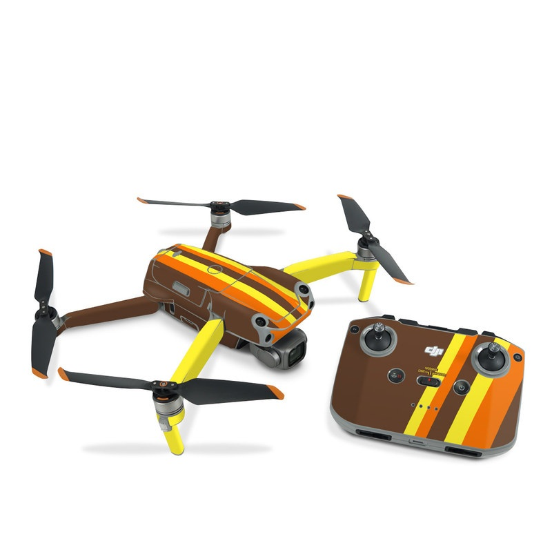 DJI Air 2S Skin design of Orange, Yellow, Line, Brown, Font, Material property, Graphic design, Pattern, Parallel with brown, orange, yellow colors