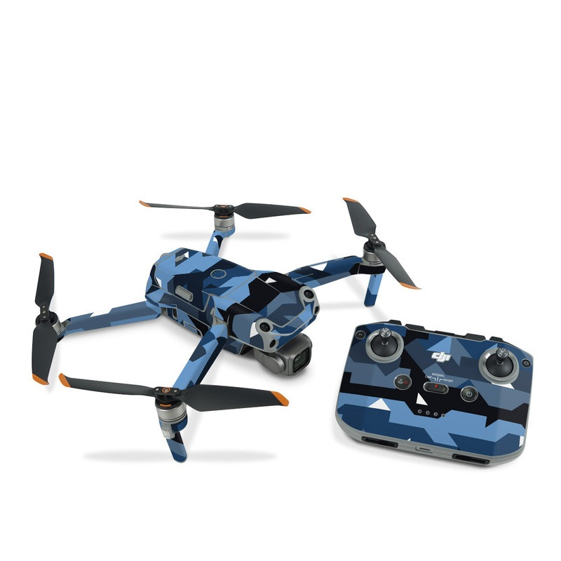 DJI Air 2S Skin design of Blue, Pattern, Design, Font, Line, Camouflage, Illustration, Triangle with blue, black, white, gray colors