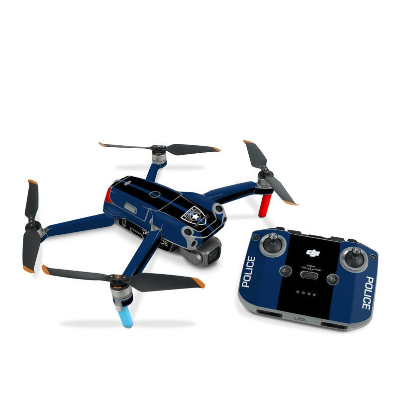 DJI Air 2S Skin design with black, white, blue, red colors