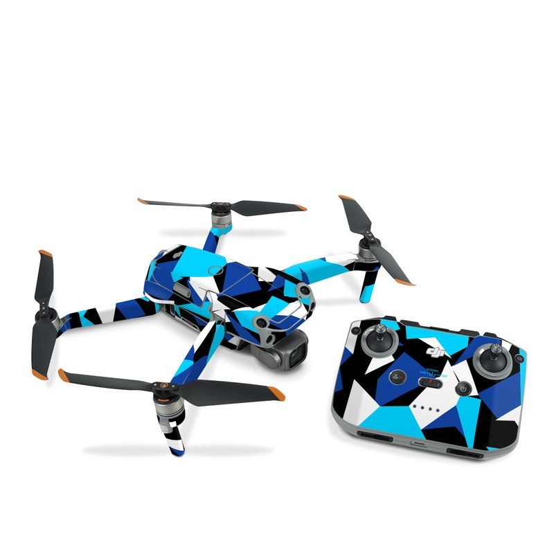 DJI Air 2S Skin design of Blue, Pattern, Turquoise, Cobalt blue, Teal, Design, Electric blue, Graphic design, Triangle, Font with blue, white, black colors