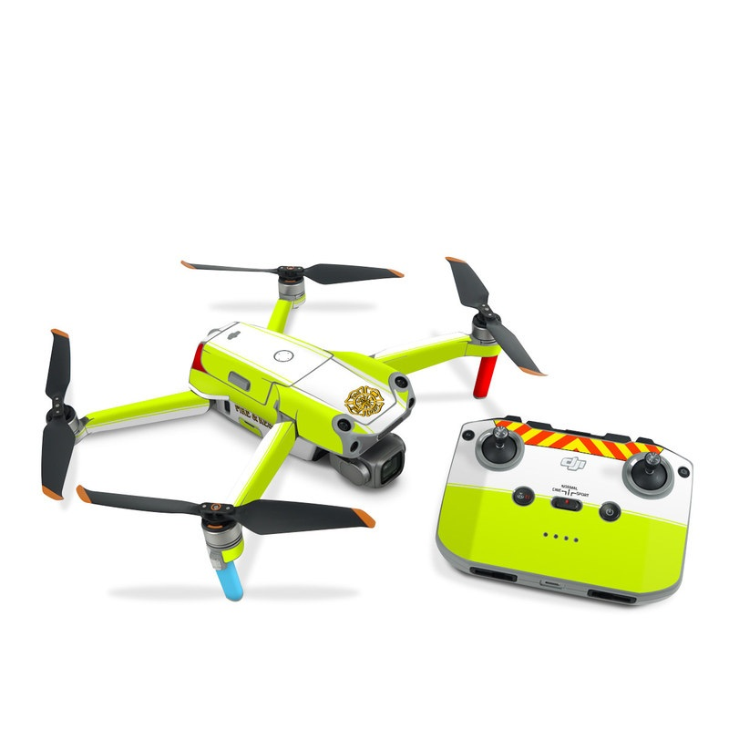 DJI Air 2S Skin design of Yellow, Line, Font, Military rank with white, green, red, yellow colors