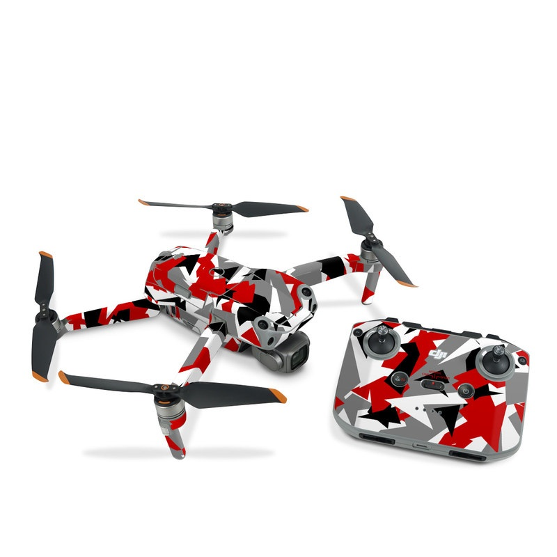 DJI Air 2S Skin design of Red, Pattern, Font, Design, Textile, Carmine, Illustration, Flag, Crowd with red, white, black, gray colors