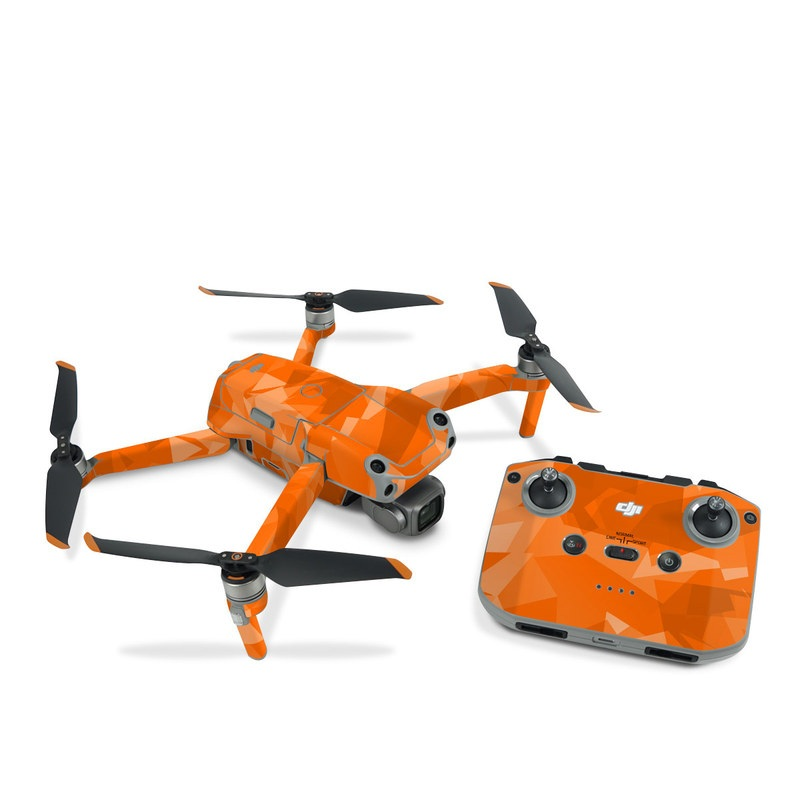 DJI Air 2S Skin design of Orange, Pattern, Peach, Line, Design, Triangle with orange colors