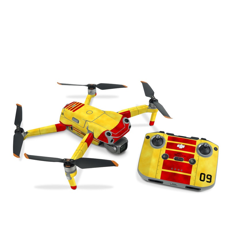 DJI Air 2S Skin design with red, yellow, black colors