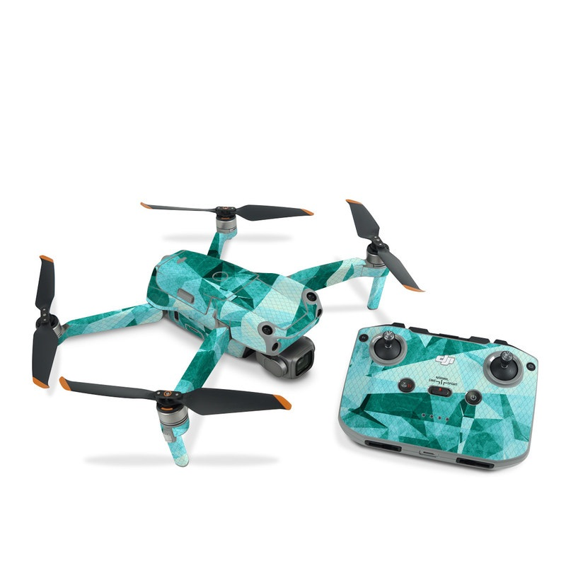 DJI Air 2S Skin design of Aqua, Blue, Pattern, Turquoise, Illustration, Teal, Design, Line, Graphic design with blue colors