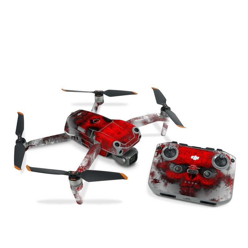 DJI Air 2S Skin design of Red, Graphic design, Skull, Illustration, Bone, Graphics, Art, Fictional character with red, gray, black, white colors