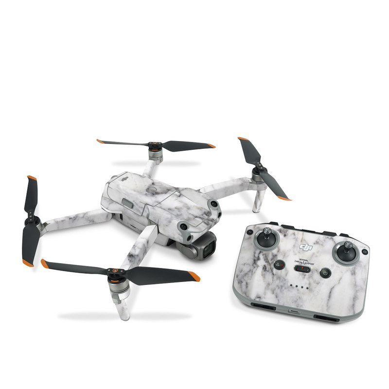 DJI Air 2S Skin design of White, Geological phenomenon, Marble, Black-and-white, Freezing with white, black, gray colors