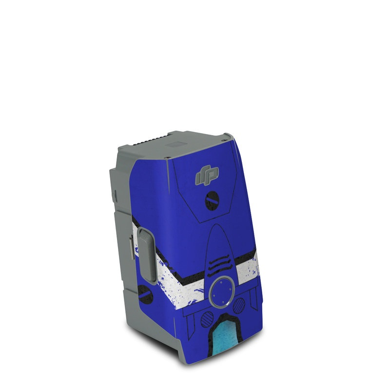 DJI Air 2S Battery Skin design of Floppy disk, Technology, Electric blue, Fictional character with white, blue, black, gray colors