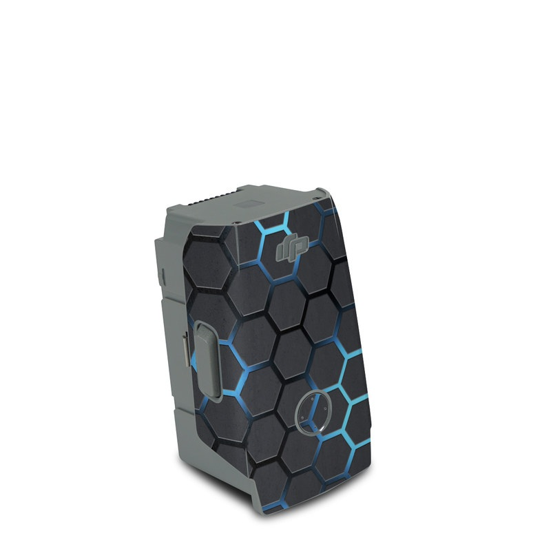 DJI Air 2S Battery Skin design of Pattern, Water, Design, Circle, Metal, Mesh, Sphere, Symmetry with black, gray, blue colors