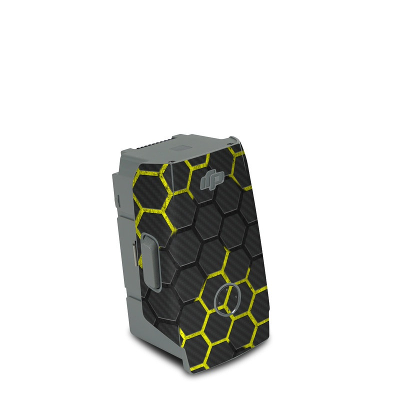 DJI Air 2S Battery Skin design of Black, Pattern, Yellow, Mesh, Net, Chain-link fencing, Design, Metal with black, gray, yellow colors