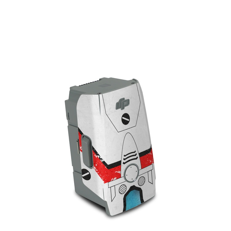 DJI Air 2S Battery Skin design of Floppy disk, Technology, Electric red, Fictional character with white, red, black, gray colors