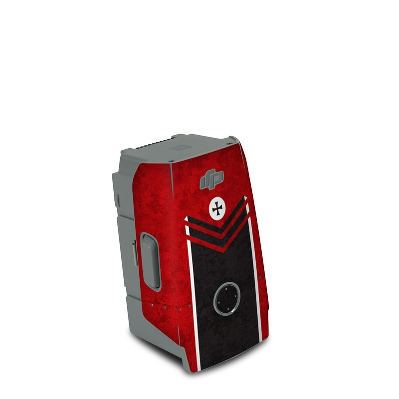 DJI Air 2S Battery Skin design of Bullet, Holes, War, Red, Text, Carmine, Colorfulness, Maroon, Symbol, Coquelicot with red, black, white, gray colors