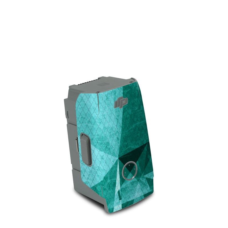 DJI Air 2S Battery Skin design of Aqua, Blue, Pattern, Turquoise, Illustration, Teal, Design, Line, Graphic design with blue colors