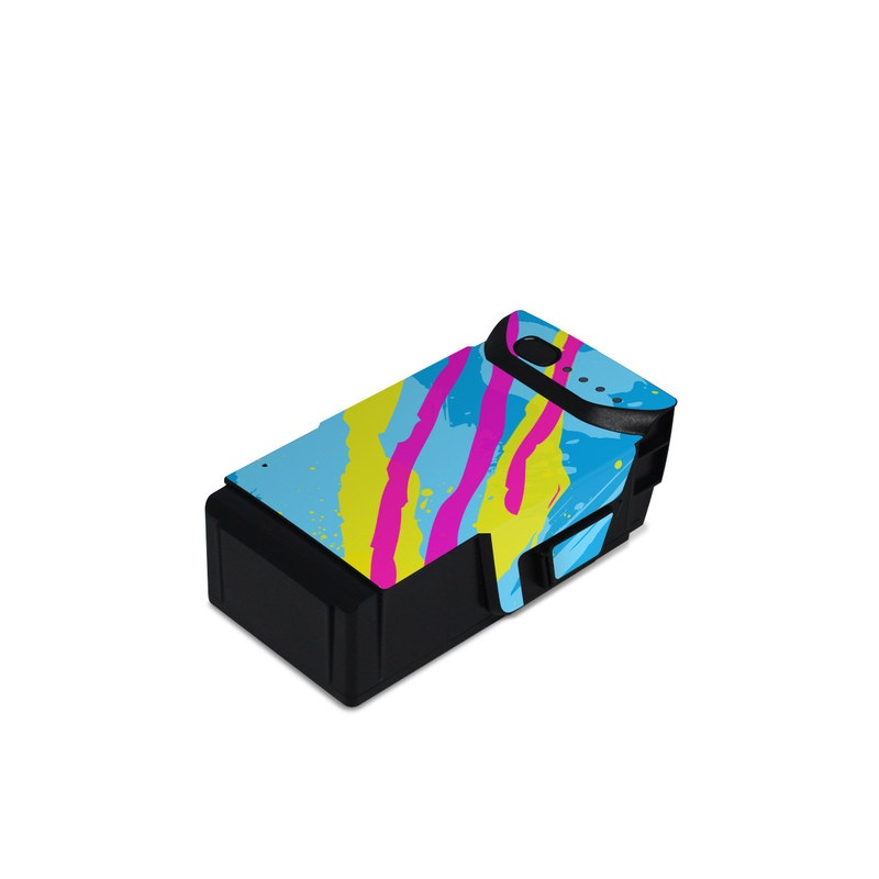 DJI Mavic Air Battery Skin design of Blue, Colorfulness, Graphic design, Pattern, Water, Line, Design, Graphics, Illustration, Visual arts with blue, black, yellow, pink colors