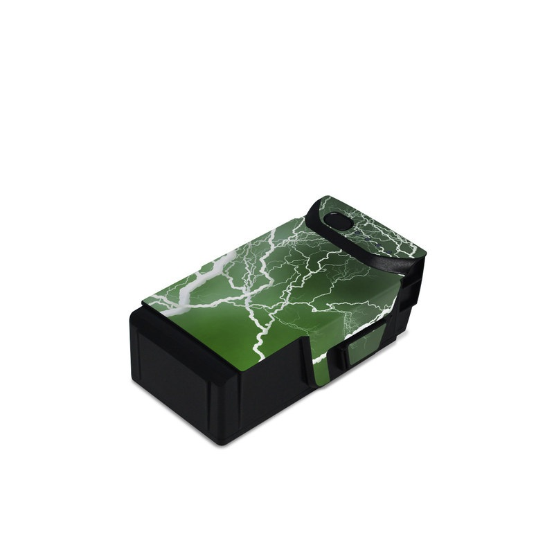 DJI Mavic Air Battery Skin design of Thunderstorm, Thunder, Lightning, Nature, Green, Water, Sky, Atmosphere, Atmospheric phenomenon, Daytime with green, black, white colors