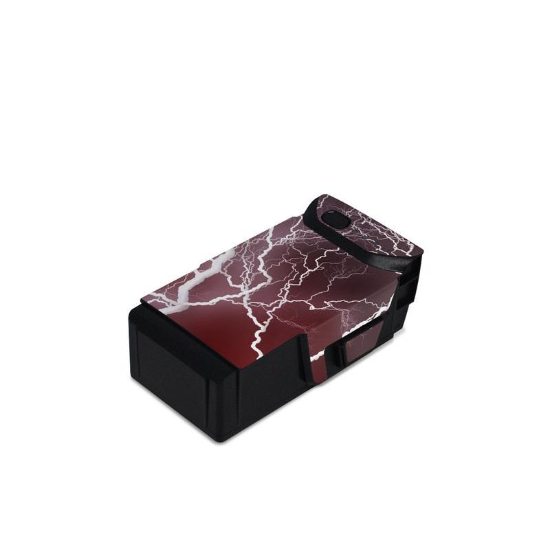DJI Mavic Air Battery Skin design of Thunder, Thunderstorm, Lightning, Red, Nature, Sky, Atmosphere, Geological phenomenon, Lighting, Atmospheric phenomenon with red, black, white colors