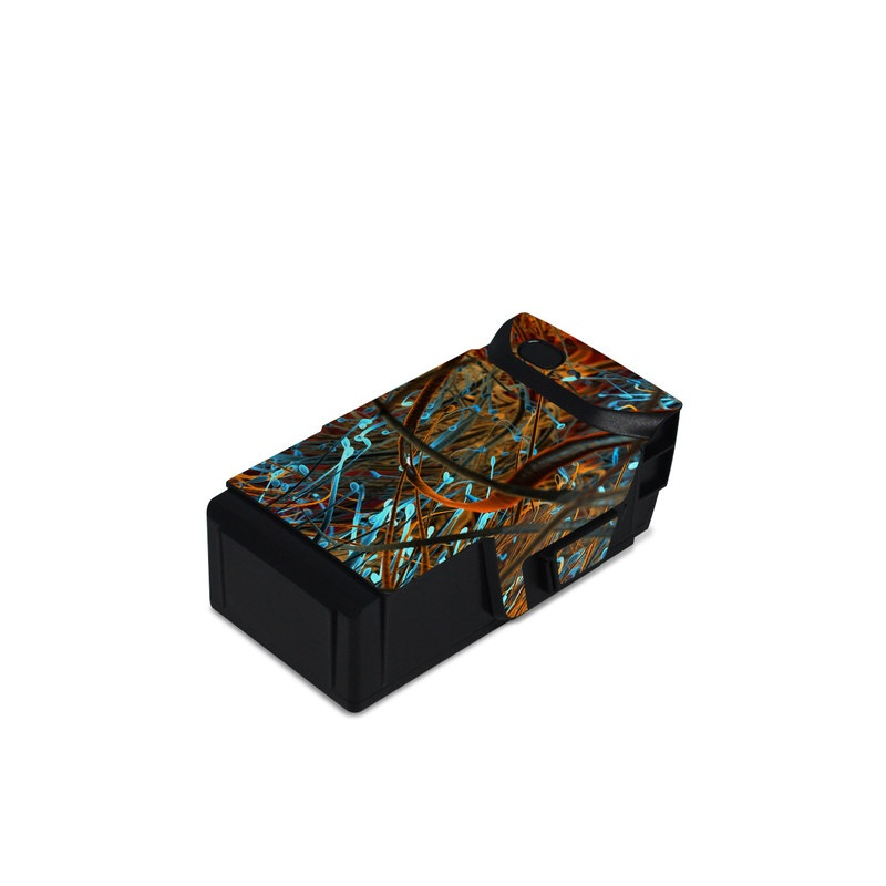 DJI Mavic Air Battery Skin design of Orange, Tree, Electric blue, Organism, Fractal art, Plant, Art, Graphics, Space, Psychedelic art with orange, blue, red, yellow, purple colors