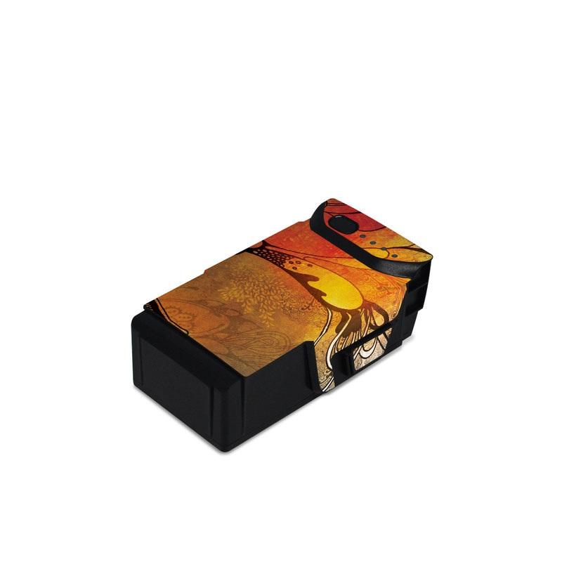 DJI Mavic Air Battery Skin design of Yellow, Orange, Art, Branch, Leaf, Graphic design, Visual arts, Pattern, Design, Modern art with black, red, orange, yellow colors