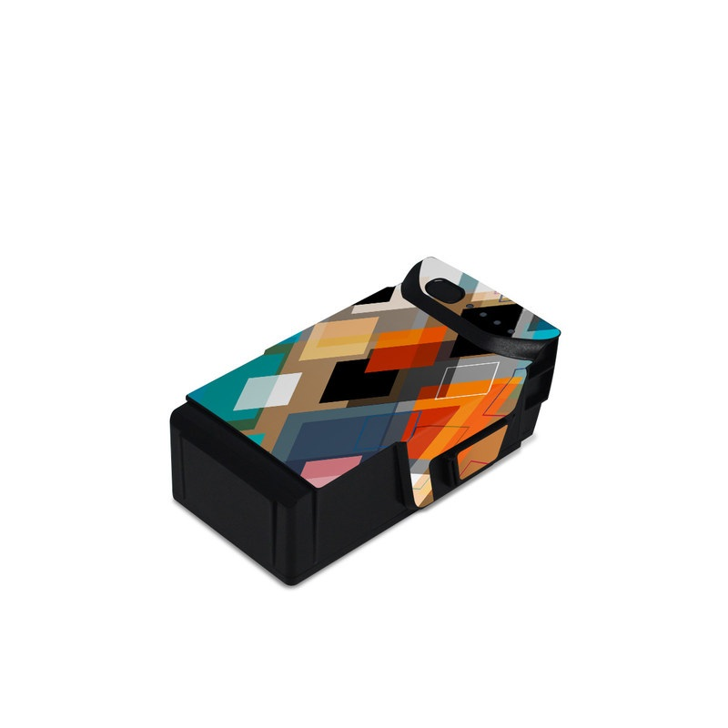 DJI Mavic Air Battery Skin design of Pattern, Line, Design, Colorfulness, Plaid, Tints and shades, Textile, Symmetry, Square with black, blue, red, orange, white colors