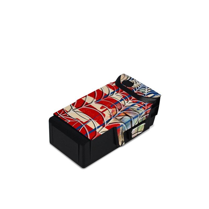 DJI Mavic Air Battery Skin design of Graffiti, Art, Pattern, Flag, Street art, Line, Textile, Mural, Modern art with red, blue, white, black colors