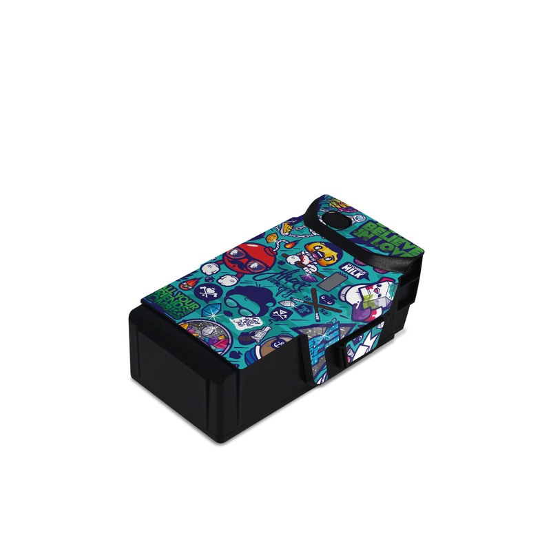 DJI Mavic Air Battery Skin design of Art, Visual arts, Illustration, Graphic design, Psychedelic art with blue, black, gray, red, green colors